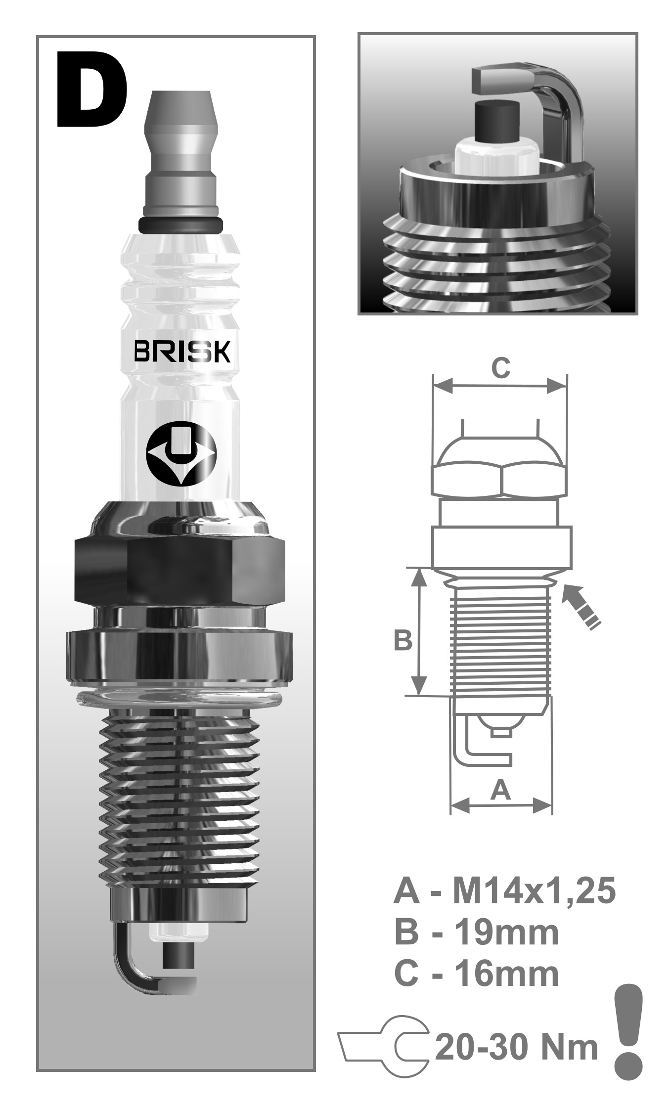Brisk Super LR17YC 1322 Buj/ías de Encendido 4 Piezas