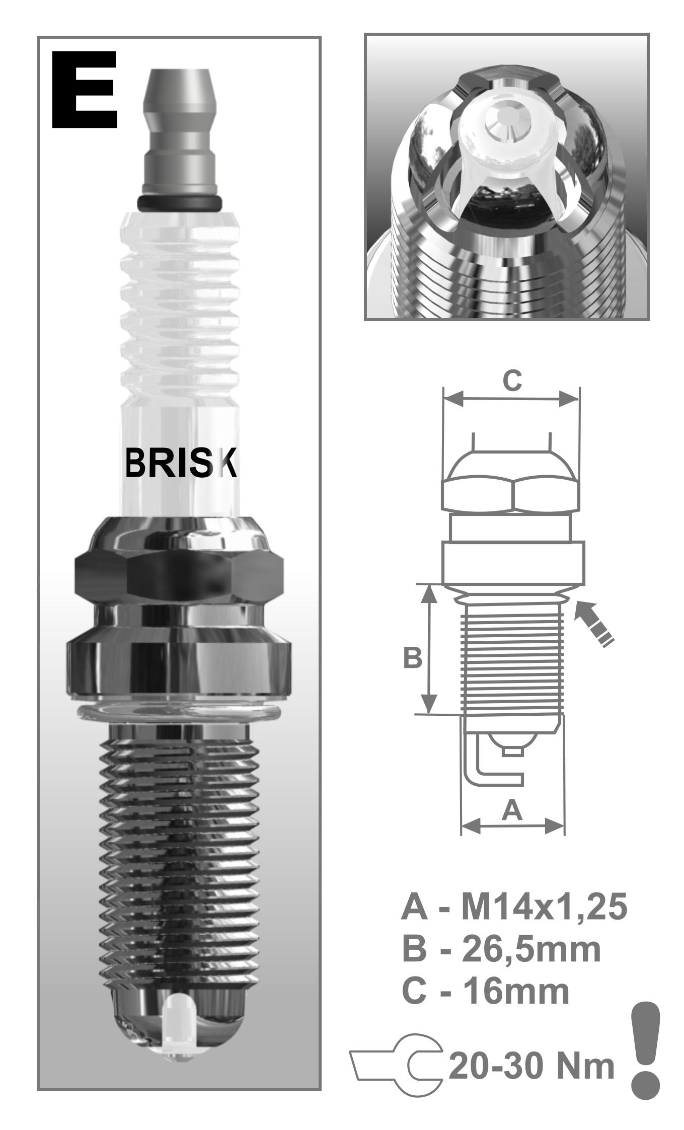 BRISK Premium Racing DOR14LGS 3025 Buj/ías de Encendido 6 piezas